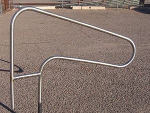 1 1/2 Inch Round Polished Stainless Steel Tube formed into a Pool Hand Rail.