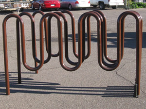 RB-9 Bike Rack powder coated brown. (This rack holds 9 bikes and has 7 loops.)